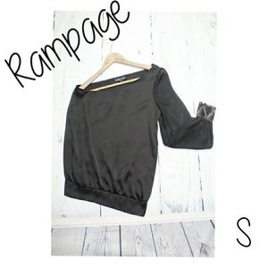 Rampage One Shoulder Sequin Cuff Black Mesh Top
